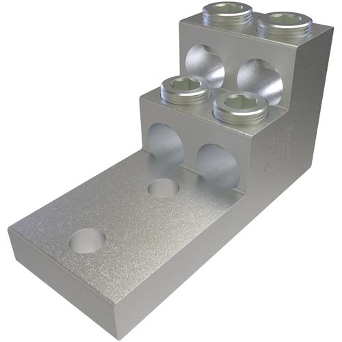 ILSCO PB4-600-2N UL Rated 600 MCM 2 AWG 13/32 Inch Mounting Hole 1-3/4 Inch Hole Spacing Aluminum Mechanical Lug