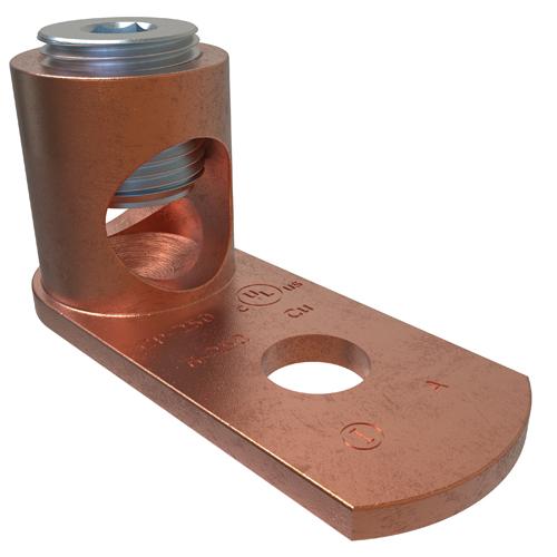 ILSCO CP-250 UL/CSA Listed 250 MCM 6 AWG 3/8 Inch Bolt Hole Copper Mechanical Post Connector