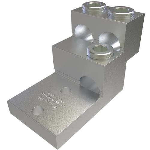 ILSCO PB3-600 UL Rated 600 MCM 2 AWG 13/32 Inch Mounting Hole 1-3/8 Inch Hole Spacing Aluminum Mechanical Lug