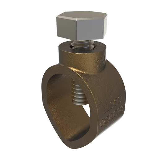ILSCO CGRC-68 10 to 2 AWG 0.56 x 1.06 x 0.75 Inch Stainless Steel Hardware Cast Bronze Ground Rod Clamp