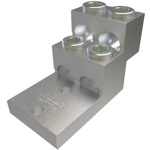 ILSCO PB4-600 UL Rated 600 MCM 2 AWG 13/32 Inch Mounting Hole 1-3/8 Inch Hole Spacing Aluminum Mechanical Lug