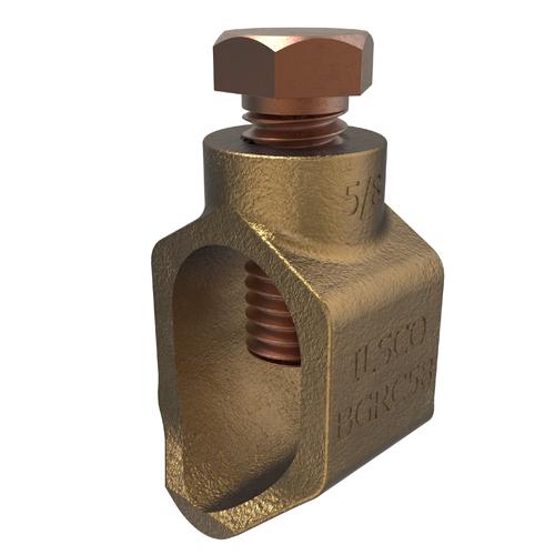 ILSCO BGRC-58 8 to 1/0 AWG 0.93 x 0.87 x 0.625 Inch Stainless Steel Hardware Cast Bronze Ground Rod Clamp