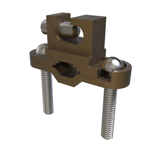 Mayer-Permaground Bronze Ground Clamp, Conductor Range 2-10, Pipe Sizes 1/2 to 1in, Ground Rod Sizes 1/4 to 1in, Rebar Sizes #3-#8, Parallell Lay-in, Direct Bury-1