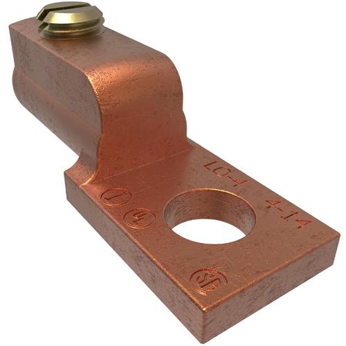 ILSCO LO-4 UL CSA Listed 4-14 AWG 17/64 Inch Mounting Hole Copper Mechanical Lug
