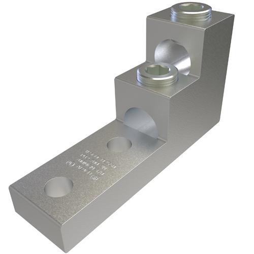 ILSCO PB2-750-2N UL Rated 750 MCM 1/0 AWG 13/32 Inch Mounting Hole 1-3/8 Inch Hole Spacing Aluminum Mechanical Lug