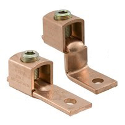 Copper Mechanical Lug Offset, Conductor Range 2-8, 1 Port, 1 Hole, 1/4in Bolt Size, UL, CSA