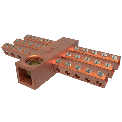 Copper Neutral Bar, Conductor Range 250-6 Main, 6-14 Tap, 30 Ports