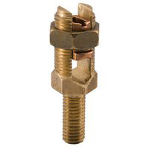 Permaground Bronze Service Post Connector, Male, Conductor Range 4/0-1, 5/8-11 x 1-1/2in Stud Size, Long Stud, Double Conductor, UL, CSA