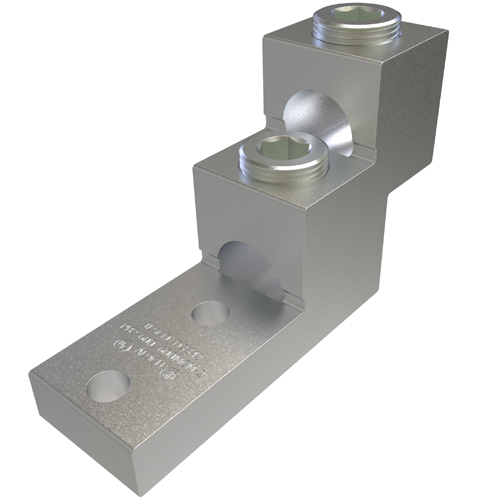 Aluminum Panelboard Lug, Dual Rated, Conductor Range 600-2, 2 Ports, 2 Holes, 3/8in Bolt Size, 1-3/8in Hole Spacing, Tin Plated, UL, CSA