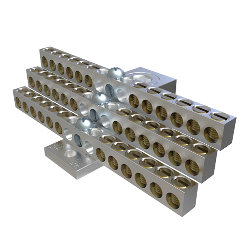 Aluminum Neutral Bar, Dual Rated, Main Conductor Range 350-6, Tap Range 4-14, 36 Tap Ports, 2 Holes, #10-32 Bolt, Tin Plated, UL, CSA