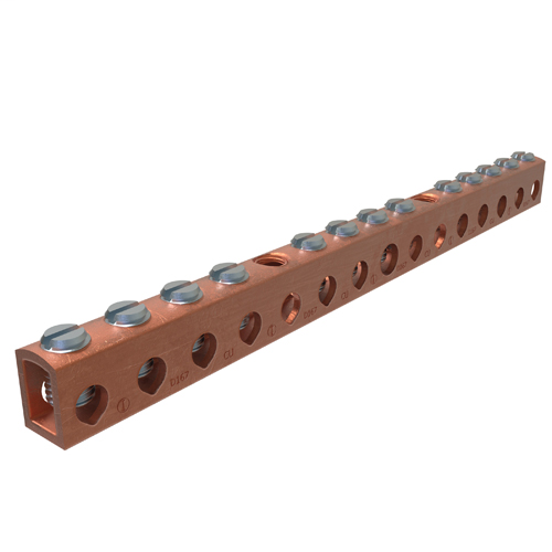 Copper Neutral Bar, Conductor Range 4-14 Main, 6-14 Tap, 13 Ports