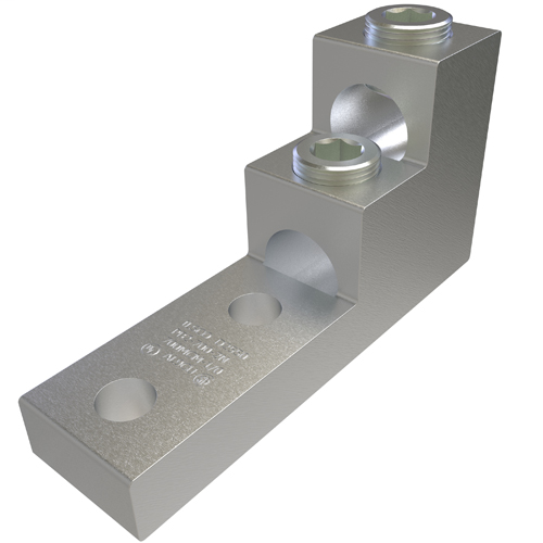 Aluminum Panelboard Lug, Dual Rated, Conductor Range 750-1/0, 2 Ports, 2 Holes, 1/2in Bolt Size, 1-3/4in Hole Spacing, Tin Plated, UL, CSA