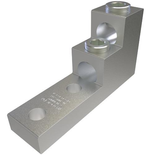 ILSCO PB2-600-2N UL Rated 600 MCM 2 AWG 13/32 Inch Mounting Hole 1-3/8 Inch Hole Spacing Aluminum Mechanical Lug