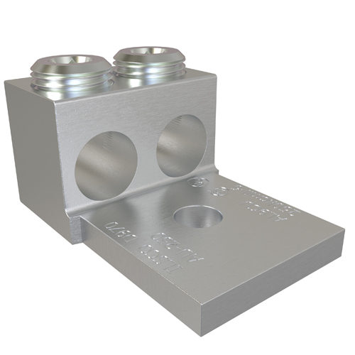 Aluminum Mechanical Lug, Conductor Range 250-6, 2 Ports, 1 Hole, 3/8in Bolt Size, Tin Plated, UL, CSA