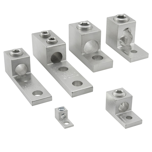 Aluminum Mechanical Lug, Dual Rated, Conductor Range 600-2, 1 Port, 2 Holes, 1/2in Bolt Size, 1-3/4in Hole Spacing, 2 Screws, Tin Plated, UL, CSA
