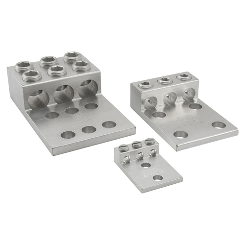 Aluminum Mechanical Lug, Conductor Range 350-6, 3 Ports, 2 Hole, 1/2in Bolt Size, 1-3/4in Hole Spacing, Tin Plated, UL, CSA