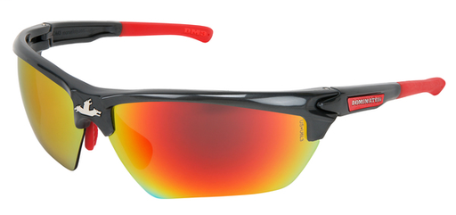 Dominator™ DM3 Series Safety Glasses with Fire Mirror Lenses Gun Metal Frame Color with Red Temples Adjustable Wire Core Temples and Nose Piece