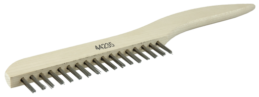 Hand Wire Scratch Brush, .012 Stainless Steel Fill, Shoe Handle, 1 x 17 Rows