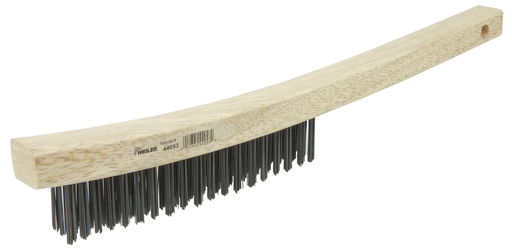 Hand Wire Scratch Brush, .012 Carbon Steel Fill, Curved Handle, 3 x 19 Rows
