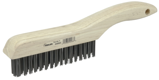 Hand Wire Scratch Brush, .012 Carbon Steel Fill, Shoe Handle, 4 x 16 Rows
