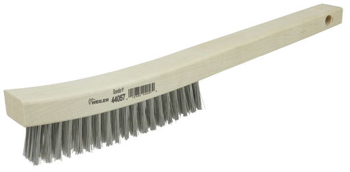 Hand Wire Scratch Brush, .012 Stainless Steel Fill, Curved Handle, 4 x 18 Rows