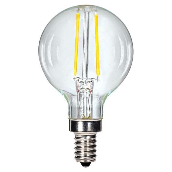 2.5W G16.5 LED; Clear; Candelabra base; 2700K; 200 Lumens; 120V