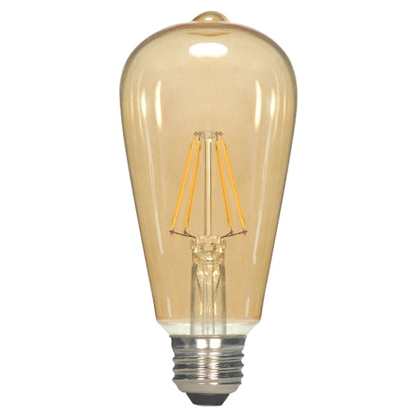 6.5W ST19 LED; Transparent Amber; Medium base; 2000K; 650 Lumens; 120V