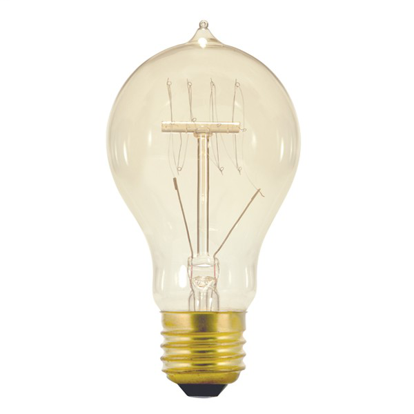 40 watt A19 Incandescent; Clear; 3000 Average rated hours; 160 lumens; Medium base; 120 volts