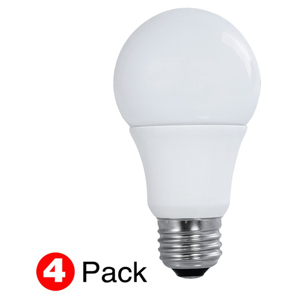 10 watt; A19 LED; Frosted; 3000K Medium base; 200' beam spread; 120 volts; Non-Dimmable; 4-Pack