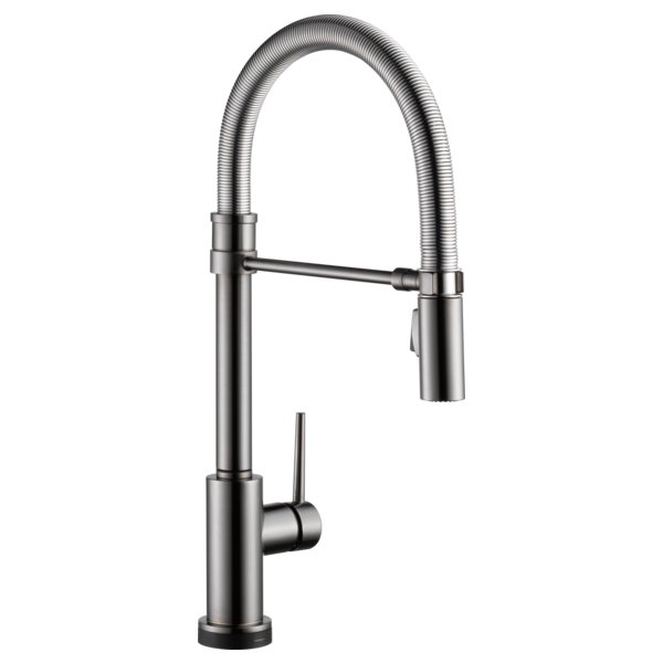 Trinsic Single Handle Pull-Down Spring Spout Kitchen Faucet with Touch2O Technology - Black Stainless
