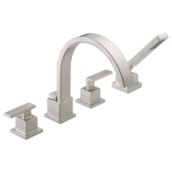 DELTA® T4753-SS Roman Tub Trim, Vero®, 18 gpm Flow Rate, 8 to 16 in Center, Brilliance® Stainless Steel, 2 Handles, Function: Traditional, Import