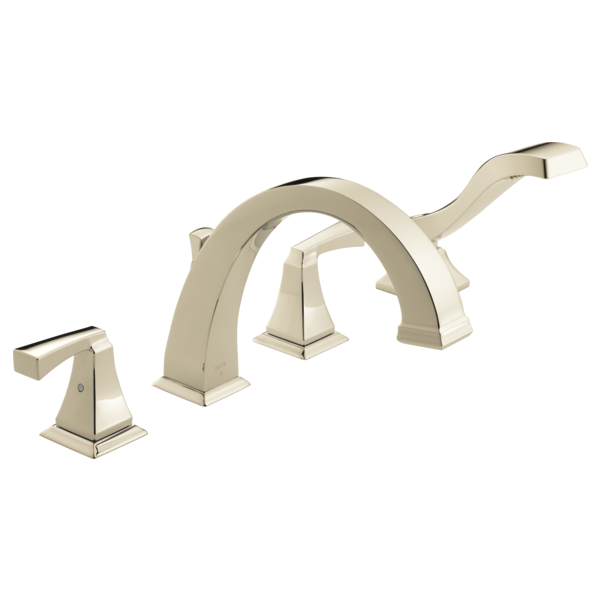 DELTA® T4751-PN Roman Tub Trim, Dryden™, 2 gpm Flow Rate, 8 to 16 in Center, Polished Nickel, 2 Handles, Function: Traditional, Import