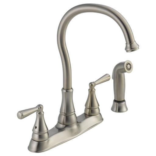 Griffen Two Handle Kitchen Faucet with Spray - Stainless