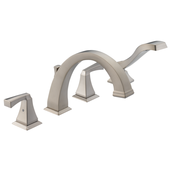 DELTA® T4751-SP Roman Tub Trim, Dryden™, Commercial, 2 gpm Flow Rate, 8 to 16 in Center, SpotShield® Stainless Steel, 2 Handles, Function: Traditional, Import