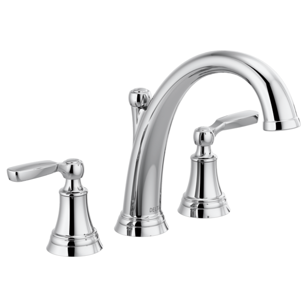 DELTA® T2732 Roman Tub Faucet Trim, Woodhurst™, 10 to 16 in Center, Polished Chrome, 2 Handles, Function: Traditional, Domestic