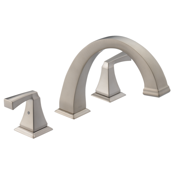 DELTA® T2751-SP Roman Tub Trim, Dryden™, 2 gpm Flow Rate, 8 to 16 in Center, Stainless Steel, 2 Handles, Function: Traditional, Import