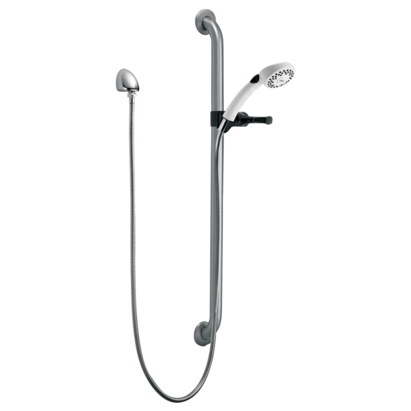 Commercial Single-Setting Hand Shower w/ Grab Bar & Elbow - Stainless And White