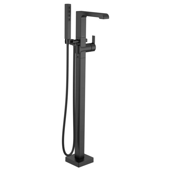 DELTA® T4767-BLFL Ara™ Floor Mount Tub Filler, 6 gpm Flow Rate, Matte Black, 1 Handles, Domestic