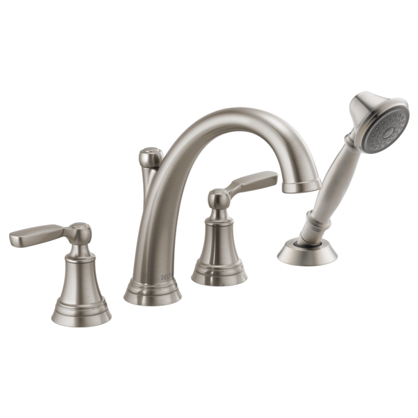 DELTA® T4732-SS Roman Tub Faucet Trim With Diverter, Woodhurst™, 10 to 16 in Center, Stainless, 2 Handles, Function: Traditional, Domestic