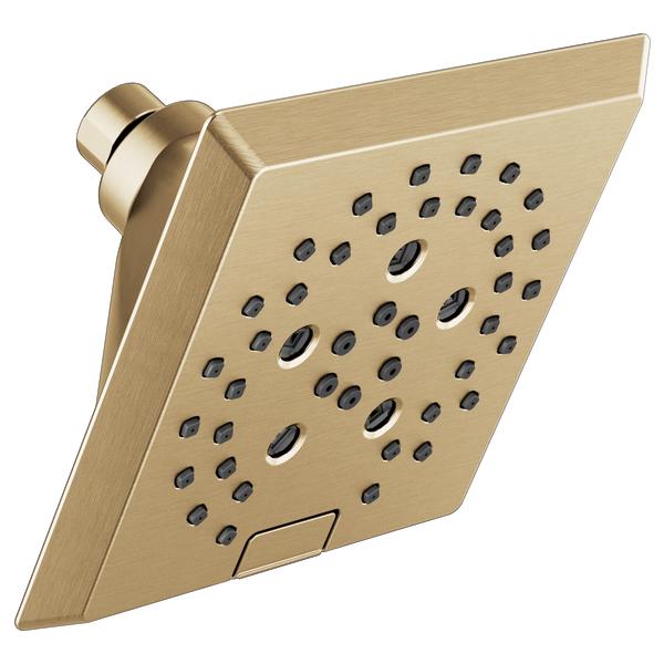 H2Okinetic 5-Setting Angular Modern Raincan Shower Head - Champagne Bronze