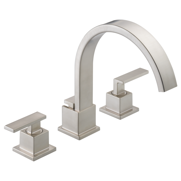 DELTA® T2753-SS Roman Tub Trim, Vero®, 18 gpm Flow Rate, 8 to 16 in Center, Stainless Steel, 2 Handles, Function: Traditional, Import