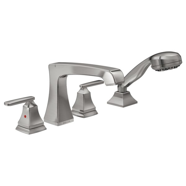 DELTA® T4764-SS Ashlyn® Roman Tub Trim, 2 gpm Flow Rate, 8 to 16 in Center, Brilliance® Stainless Steel, 2 Handles, Function: Traditional, Import