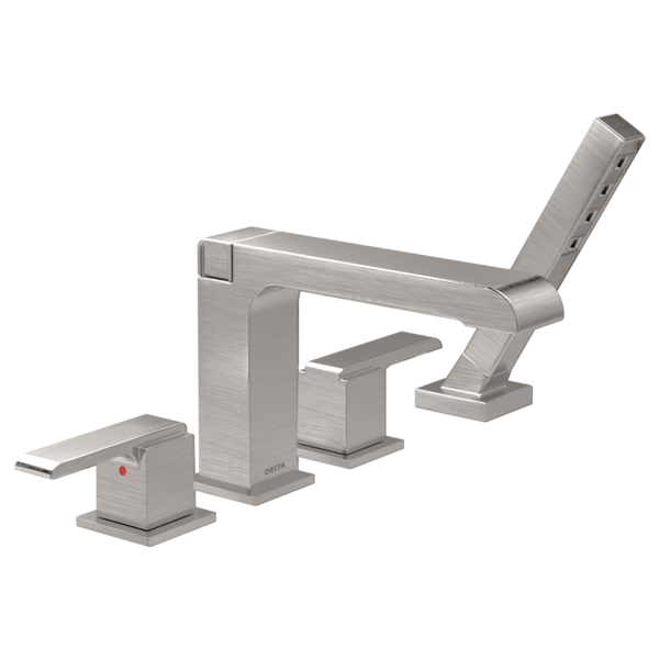 DELTA® T4767-SS Ara® Roman Tub Trim, Commercial, 2 gpm Flow Rate, 10 to 16 in Center, Stainless Steel, 2 Handles, Function: Traditional, Domestic