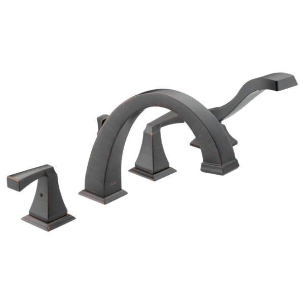 DELTA® T4751-RB Roman Tub Trim, Dryden™, 2 gpm Flow Rate, 8 to 16 in Center, Venetian Bronze, 2 Handles, Function: Traditional, Import