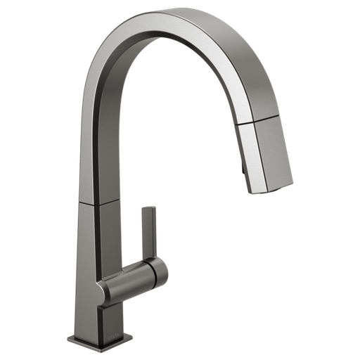 Pivotal Single Handle Pull Down Kitchen Faucet - Black Stainless