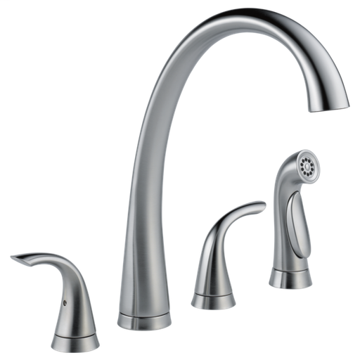 Pilar Two Handle Widespread Kitchen Faucet with Spray - Arctic Stainless