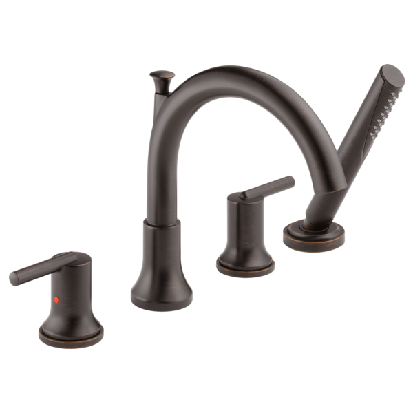 DELTA® T4759-RB Roman Tub Trim, Trinsic®, Residential, 2 gpm Flow Rate, 8 to 16 in Center, Venetian Bronze, 2 Handles, Function: Traditional, Domestic