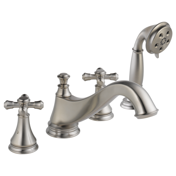 Cassidy Roman Tub Trim with Hand Shower - Low Arc Spout - Less Handles - Stainless