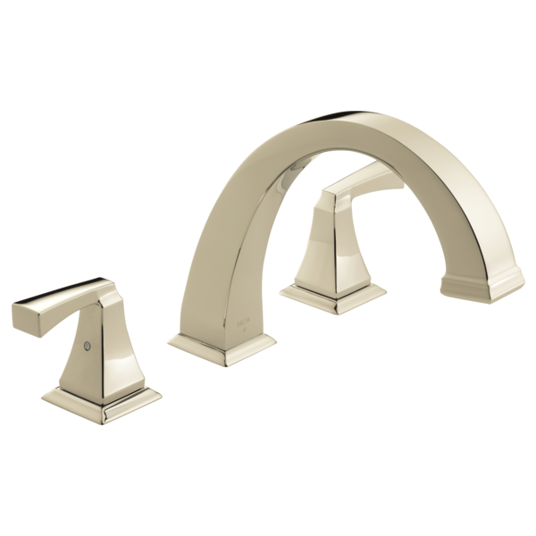 DELTA® T2751-PN Roman Tub Trim, Dryden™, 2 gpm Flow Rate, 8 to 16 in Center, Polished Nickel, 2 Handles, Function: Traditional, Import