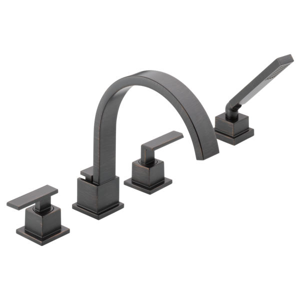 DELTA® T4753-RB Roman Tub Trim, Vero®, Commercial, 18 gpm Flow Rate, 8 to 16 in Center, Venetian Bronze, 2 Handles, Function: Traditional, Import